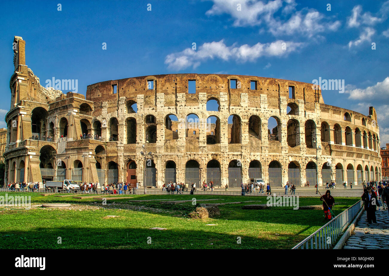 Wide-angle view of the Colosseum  in Rome, Italy. - Stock Image