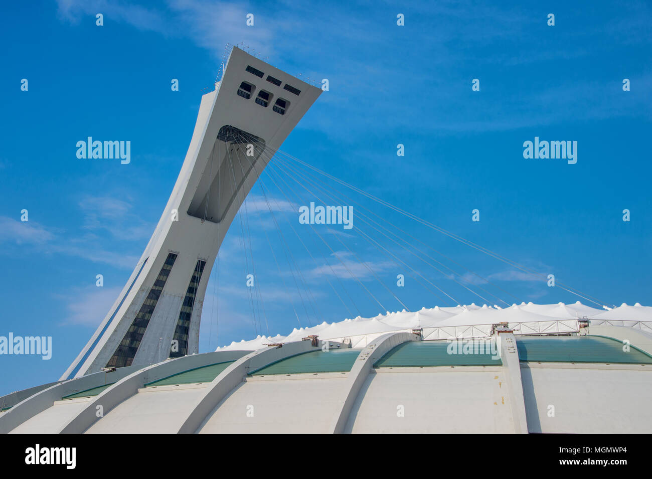 Montreal, CA - 28 April 2018: The Montreal Olympic Stadium and inclined tower. - Stock Image