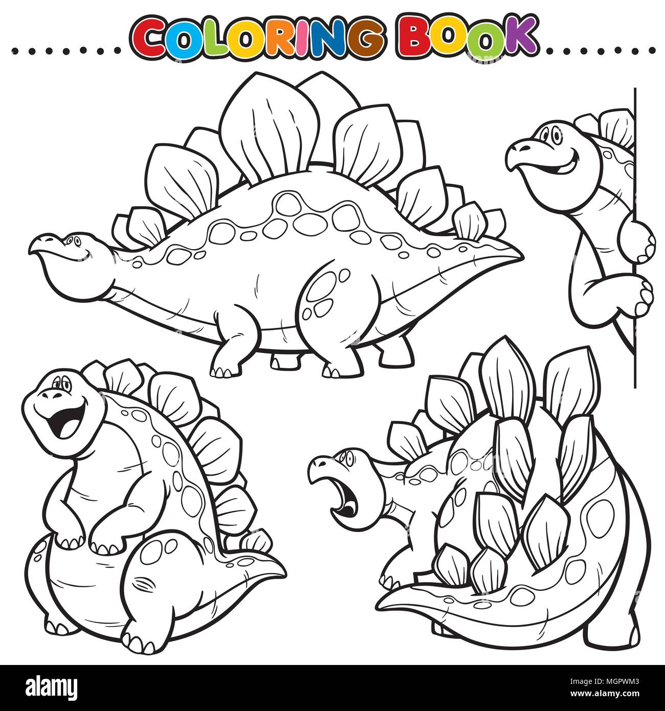 Cartoon Coloring Book - Dinosaurs Character Stock Vector Art ...