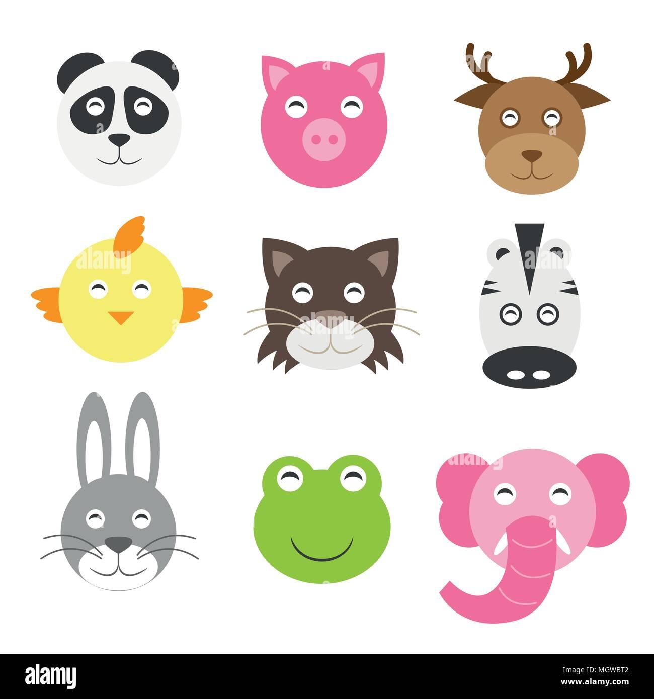 Cute Cartoon Animals Head Round Shape In Flat Style Stock Vector Art