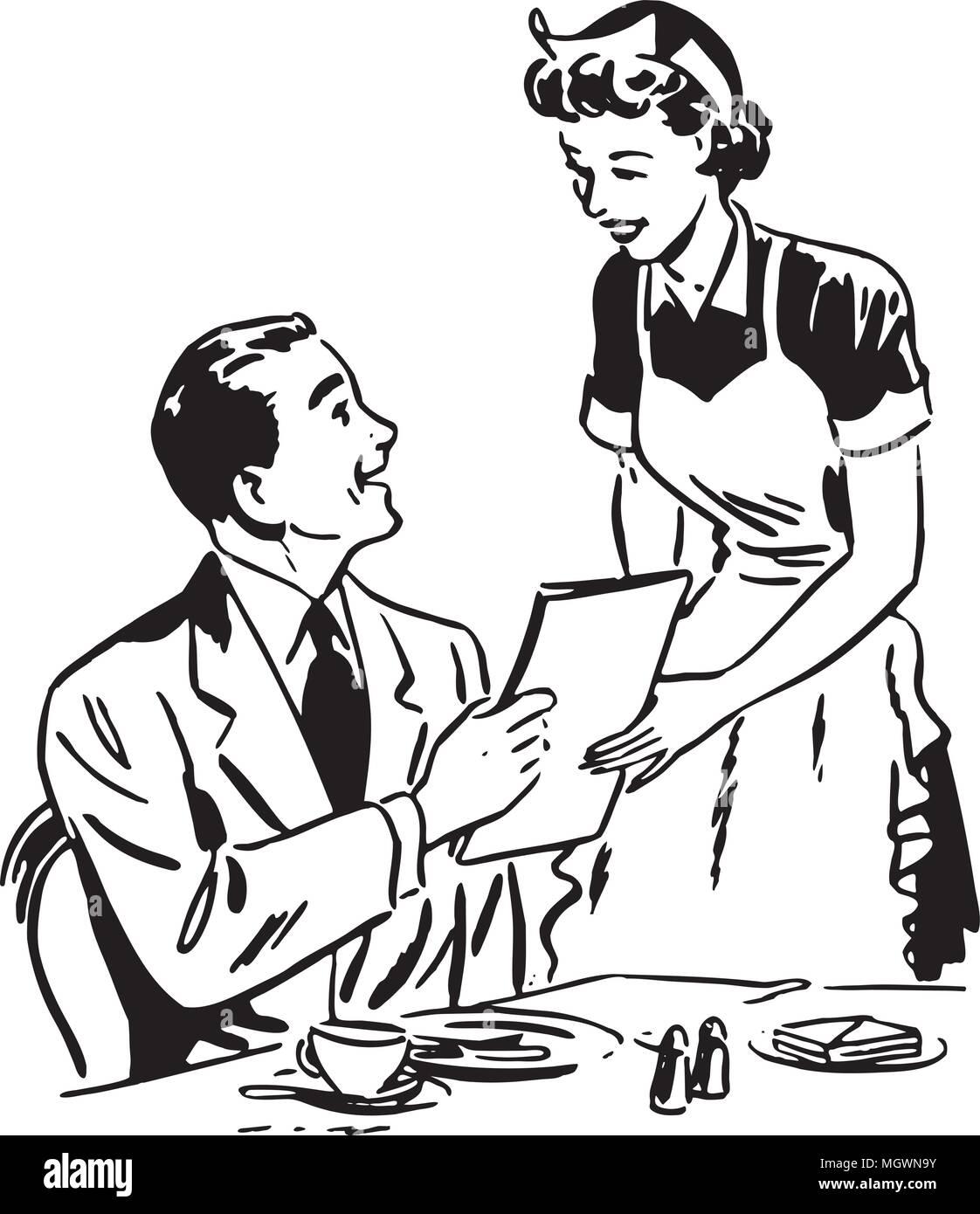 waitress handing out menu - retro clipart illustration stock vector