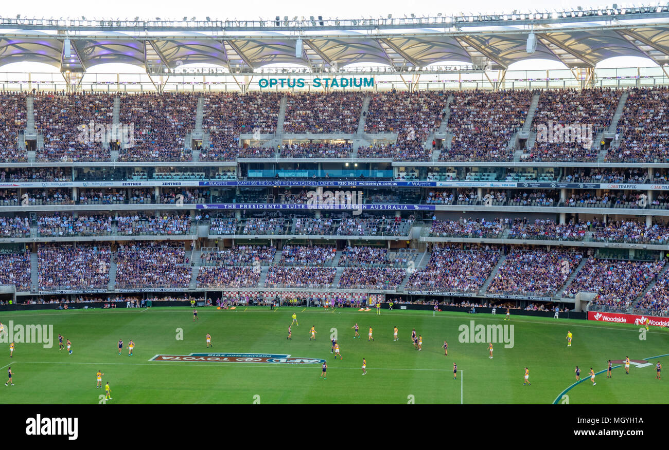 AFL teams Fremantle Dockers and West Coast Eagles playing their Australian Rules Football, first derby at Optus Stadium, Perth, WA, Australia. Stock Photo