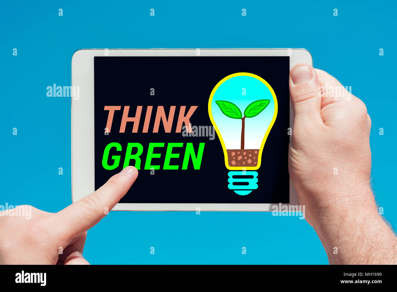 Ecoconcept man holding a tablet device with light bulb eco concept illustration