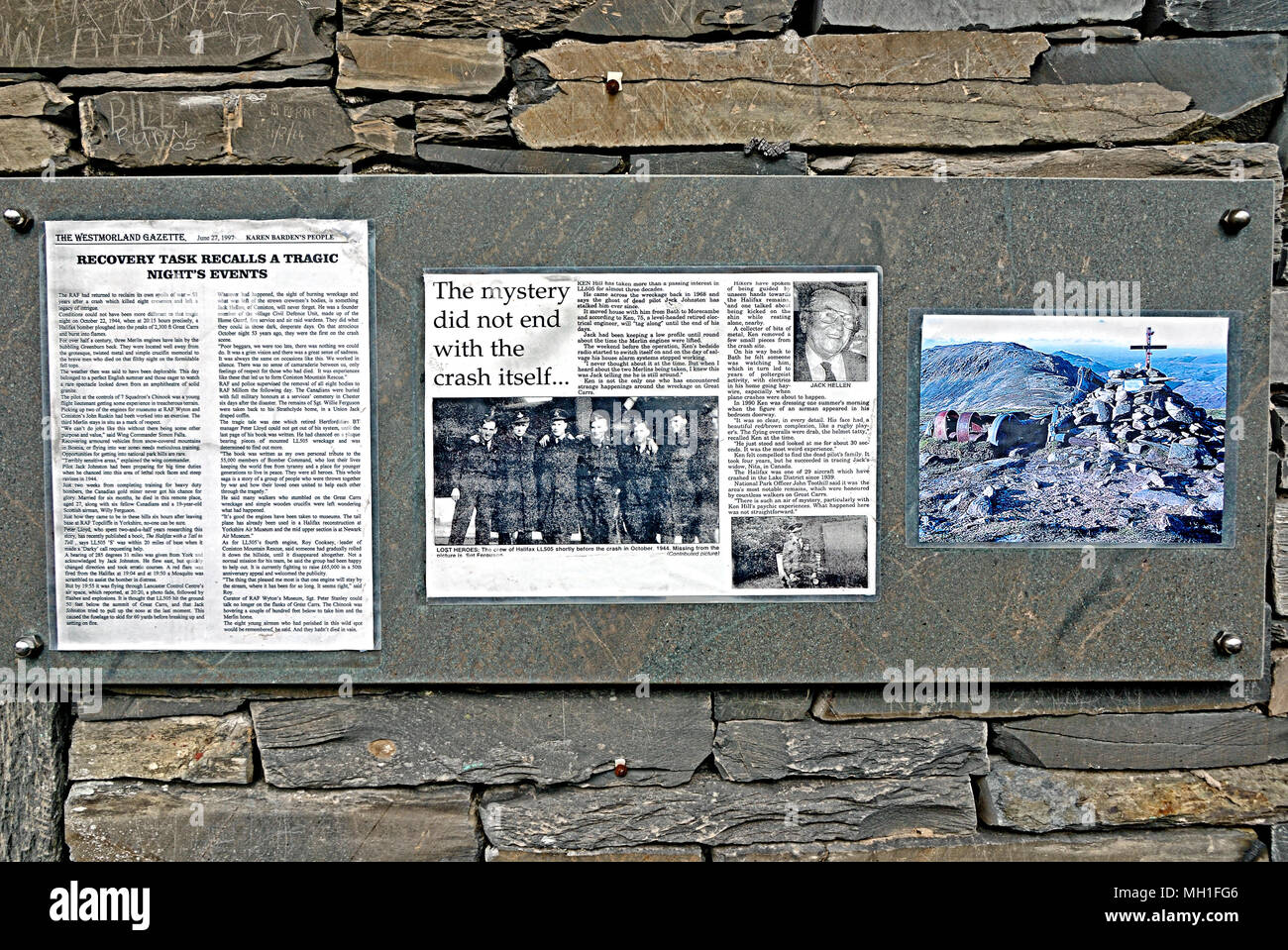 WW2 Bomber Crash Newspaper Clippings - Stock Image