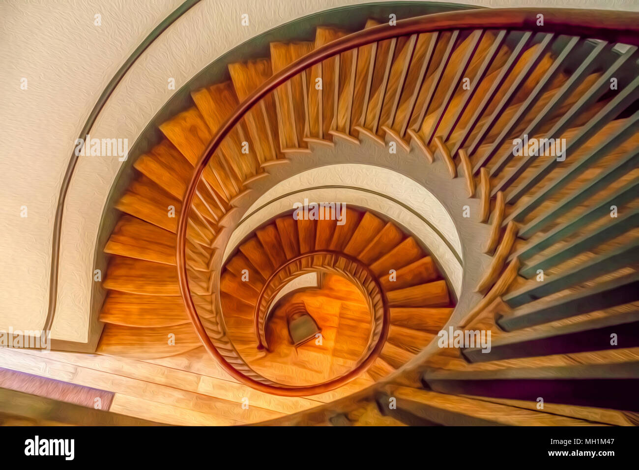 Top View Of Vintage Wooden Spiral Staircase, With Digital Oil Painting  Effect