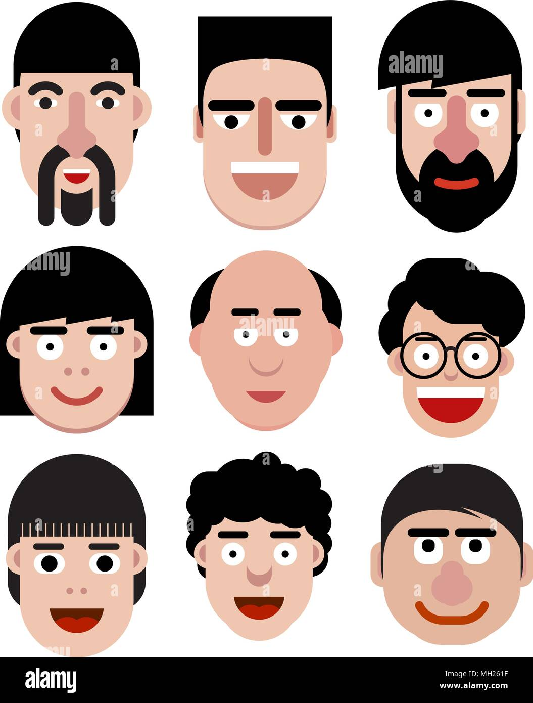 set of cartoon vector men faces in very simple style stock vector