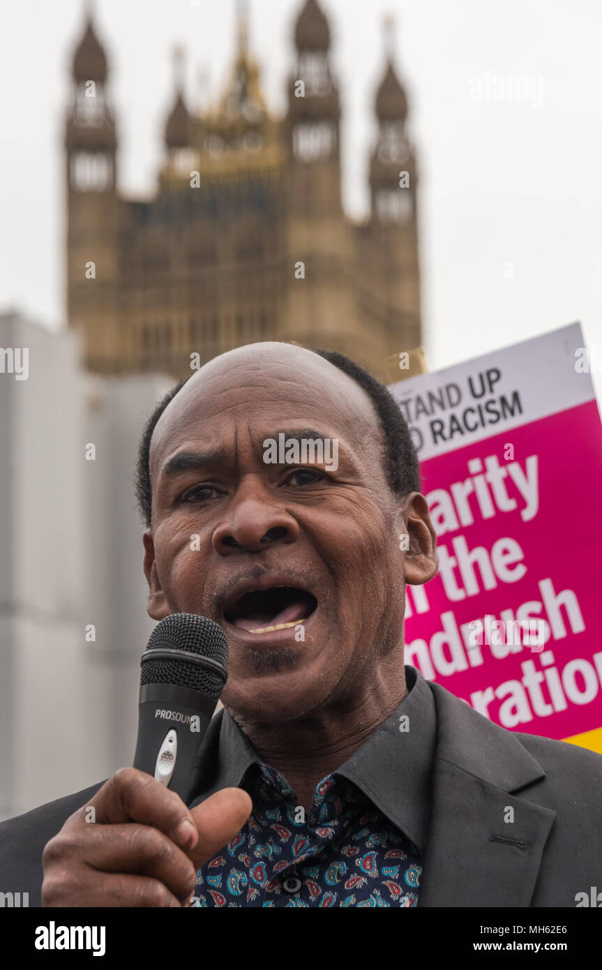 London, UK. 30th April 2018.  Harold,  a Jamaican who came here legally in the 1950s and has worked since as a builder but has so far failed to get the Home Office to acknowledge he is entitled to be here and has been refused a passport speaks at theprotest in support of the petition calling for an end to the deportations of migrants in the 'Windrush generation' who arrived in Britain between 1948 and 1971. It calls on the government to change the burden of proof which means they are now required to prove their right to remain, and to provide compensation for any loss and hurt.. Most of those  - Stock Image