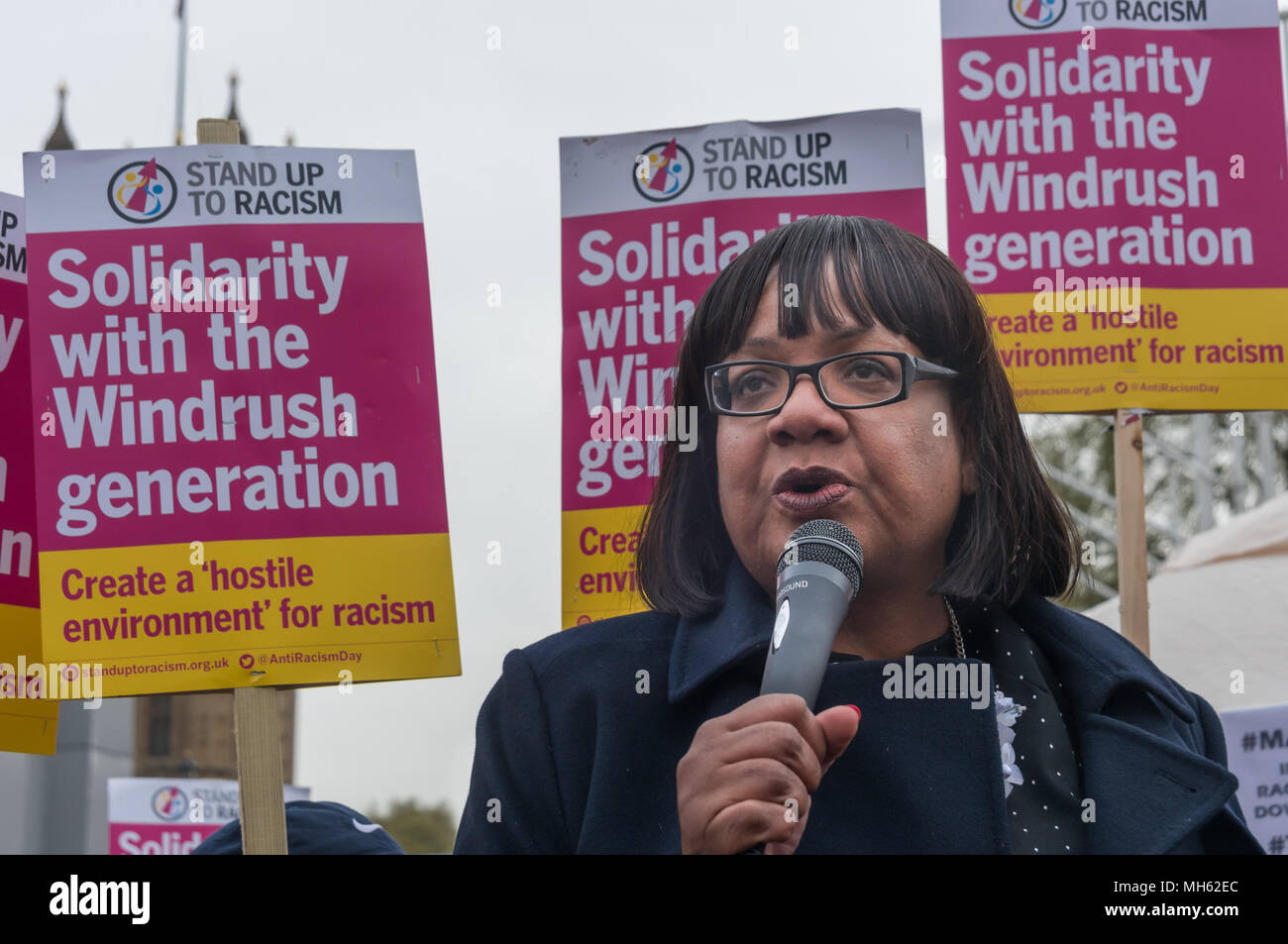 London, UK. 30th April 2018.  Shadow Home Secretary Diane Abbott speaks at the protest in support of the petition calling for an end to the deportations of migrants in the 'Windrush generation' who arrived in Britain between 1948 and 1971. It calls on the government to change the burden of proof which means they are now required to prove their right to remain, and to provide compensation for any loss and hurt.. re for many years, paying taxes and raising families here Credit: Peter Marshall/Alamy Live News - Stock Image