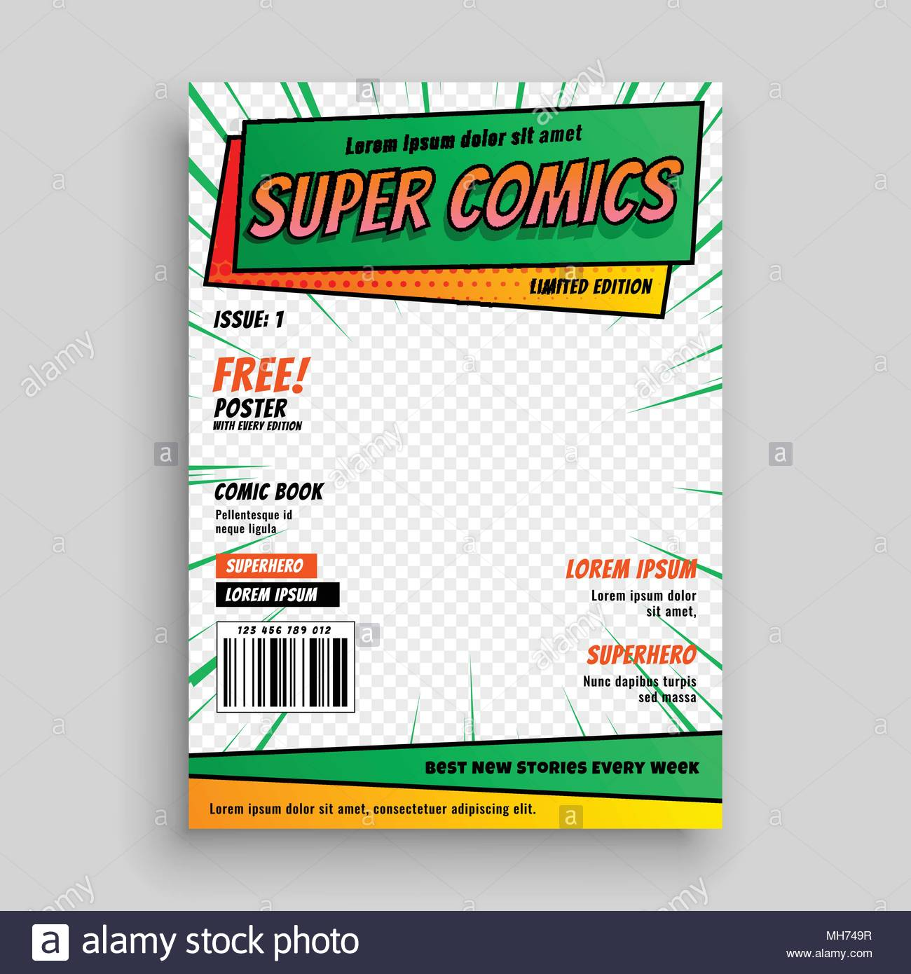Comic book cover layout template stock vector art illustration comic book cover layout template maxwellsz