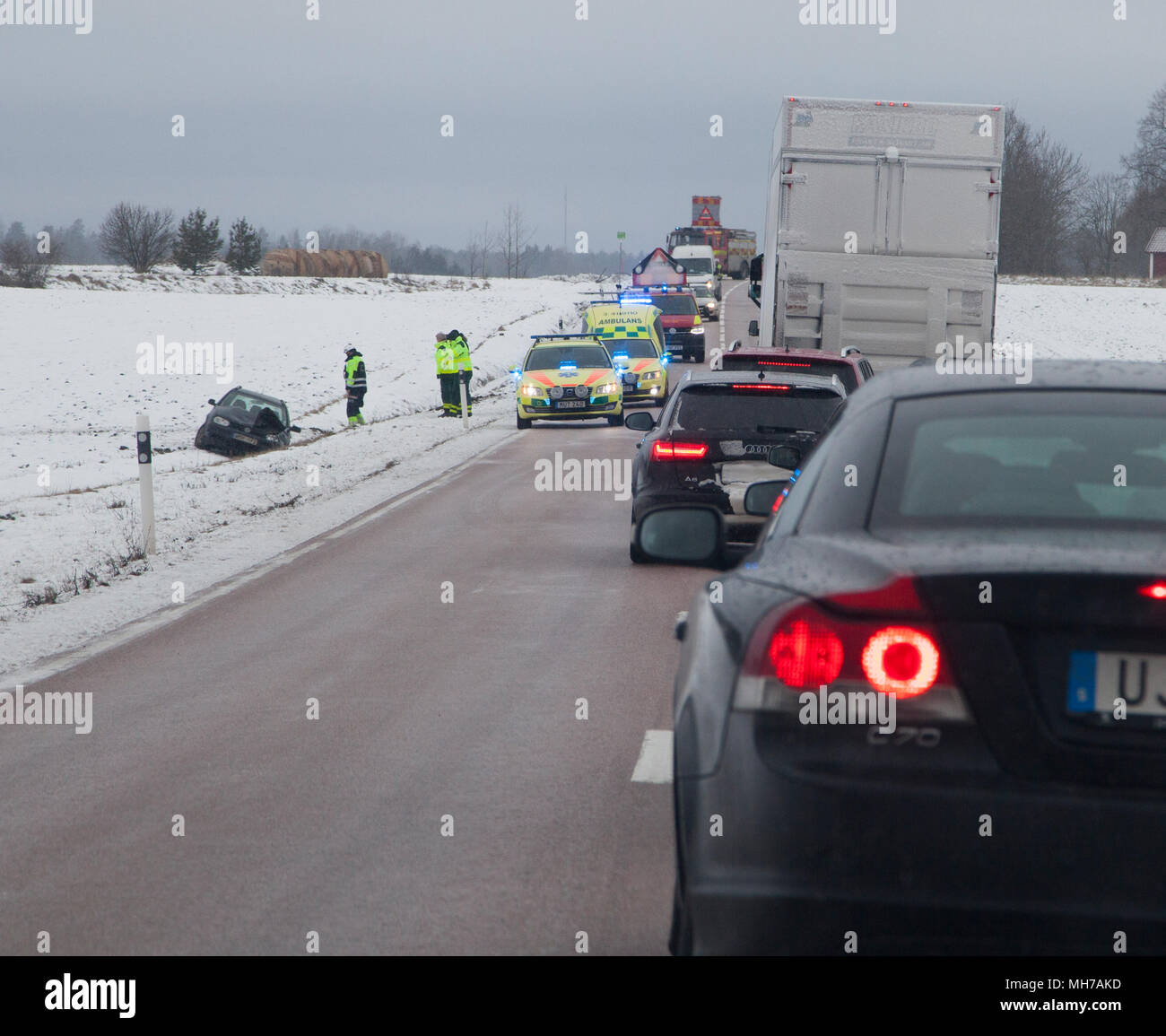 QUEUE in traffic after a fatal accident during winter 2018 - Stock Image
