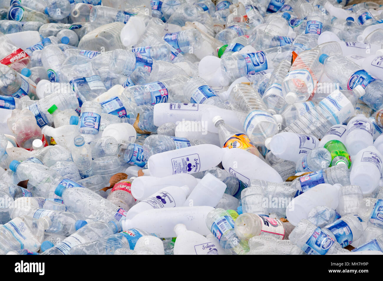 Plastic bottles for recycling, Thailand - Stock Image