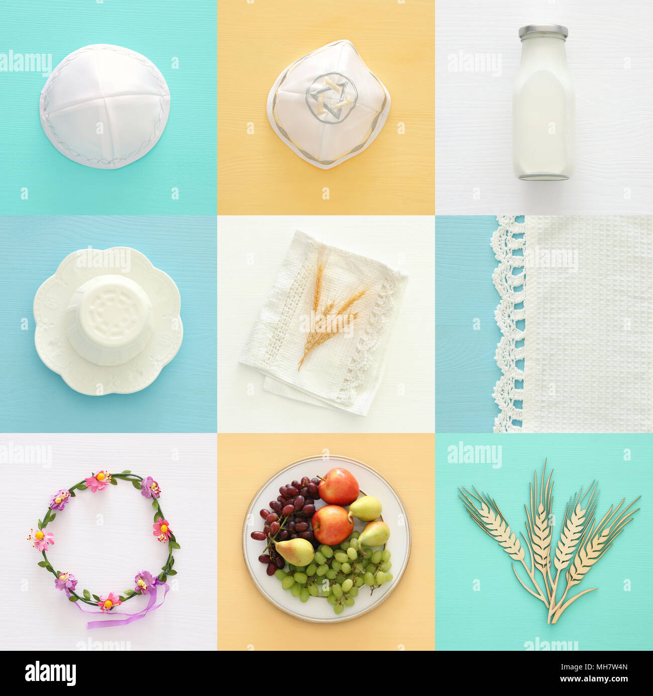 Top View Collage Image Of Dairy Products And Fruits Symbols Of