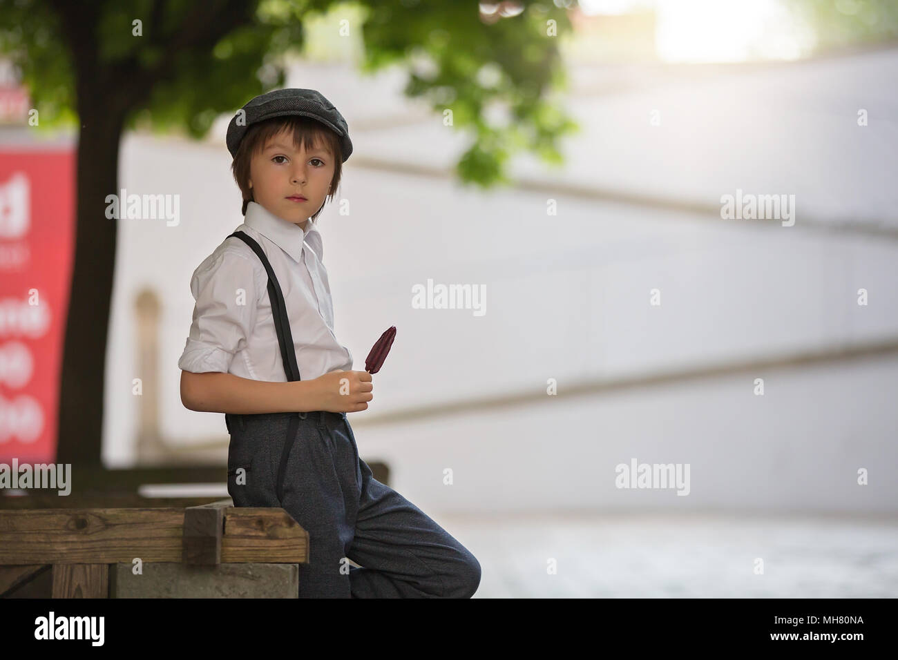 Little Preschool Boy Cute Child Dressed In Vintage Style Clothes