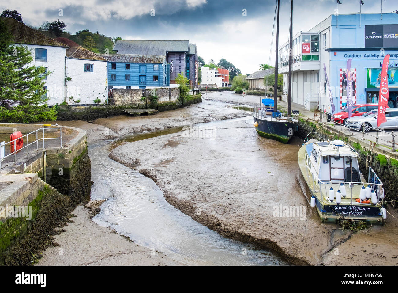 The River Kenwyn joining the Truro River in Truro City centre in Cornwall. - Stock Image