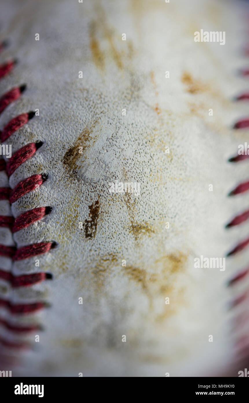 Macro shot of a used baseball - Stock Image
