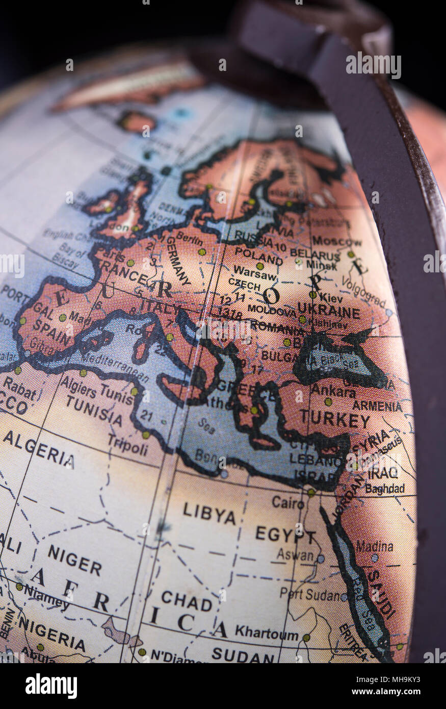 Detail of a globe focused on Europe - Stock Image