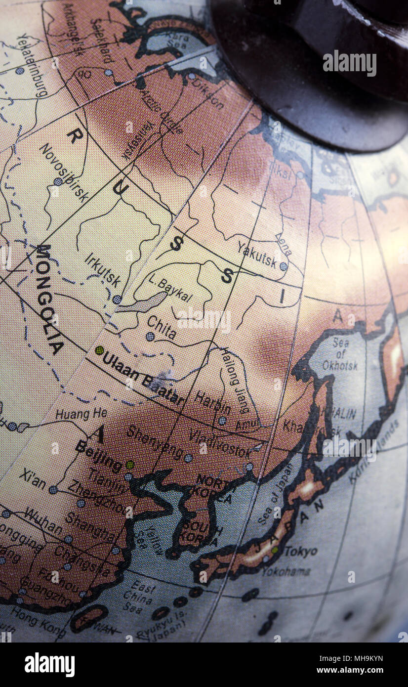 Detail of a globe focused on Russia - Stock Image