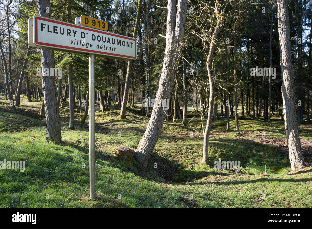 Site of the destroyed village Fleury-devant-Douaumont, grenade funnel overgrown by forest, in front sign for warningStock Photo