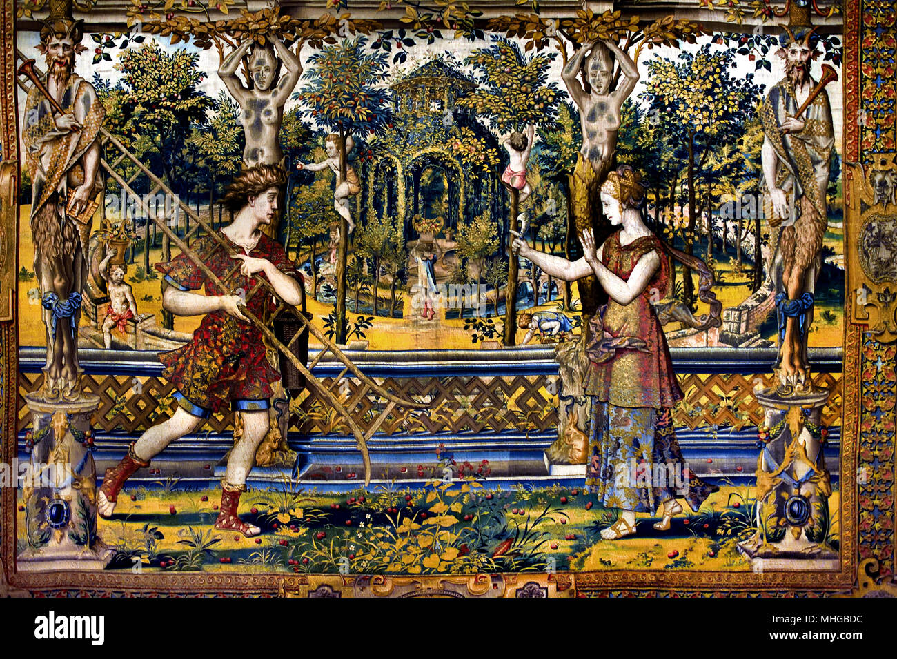 Vertumnus and Pomona ( Tapestry ) after Jan Pieter Coecke van Aelst 1502-1550 Belgian, Belgium, Flemish, ( Wool, Silk, Gold, ) The short mythical story of Vertumnus and Pomona is one of the famous legends that feature in the mythology of ancient civilizations. Discover the myths about the ancient gods, goddesses, demigods and heroes and the terrifying monsters and creatures they encountered on their perilous journeys and quests. - Stock Image