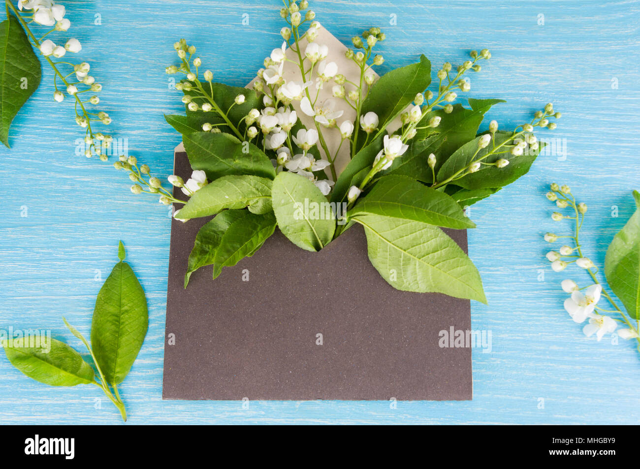 Colorful Spring Flowers In Envelope Flower Delivery Concept Stock