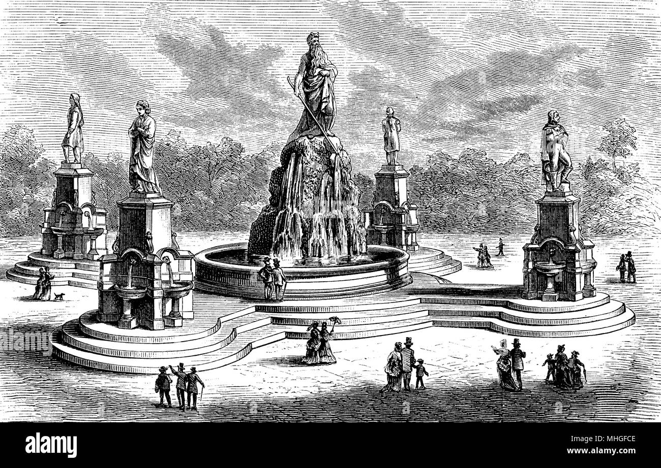 The Catholic Total Abstinence Union Fountain, ornamental and drinking fountain built in 1877 in Philadelphia and now defunct. The marble monument was symbolizing the power of virtues. - Stock Image