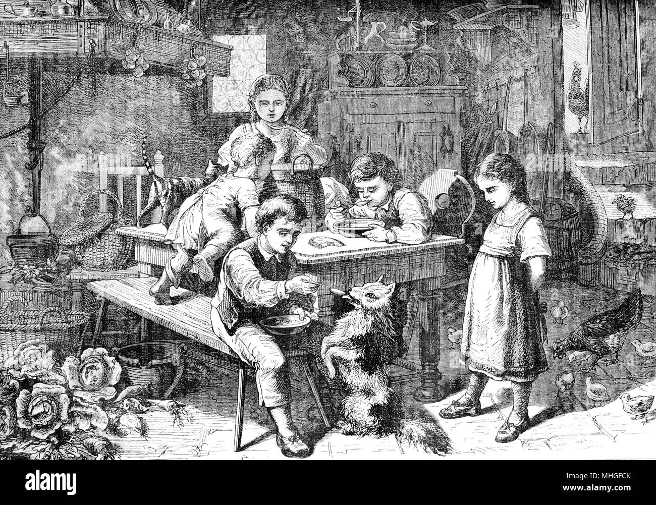 Vintage print of lunch time in farmhouse: boy, girls and children eat together in the kitchen and feed a pet dog - Stock Image