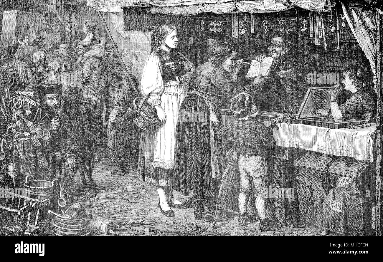 Farm people visiting  the annual market to buy eyeglasses for the granny, vintage engraving - Stock Image