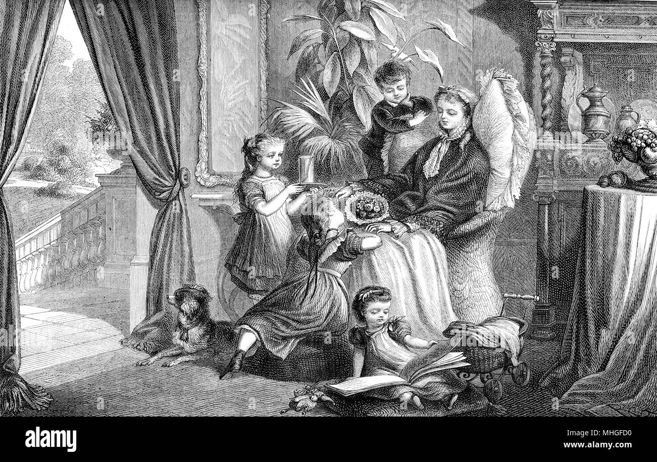 sweet portrait of convalescent mother cuddled by her toddlers in the drawing room, vintage engraving - Stock Image