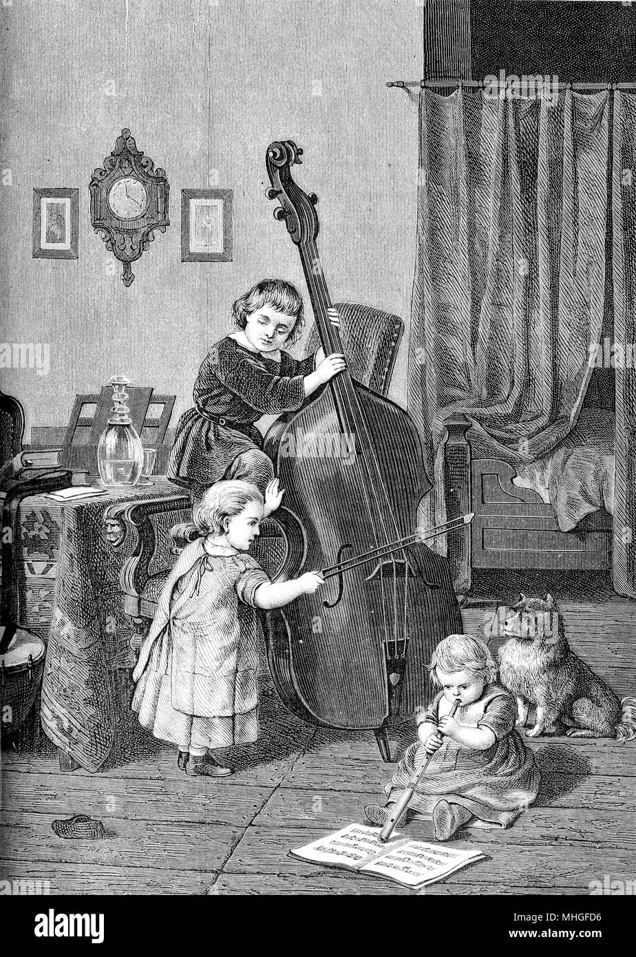 Family trio, young musicians with cello and flute: the toddlers make music at home - Stock Image