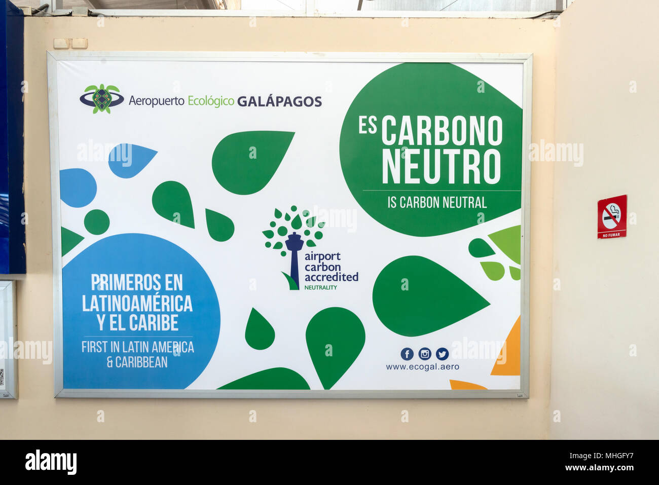 Carbon Neutral Sign In Seymour Airport Terminal On Baltra Island