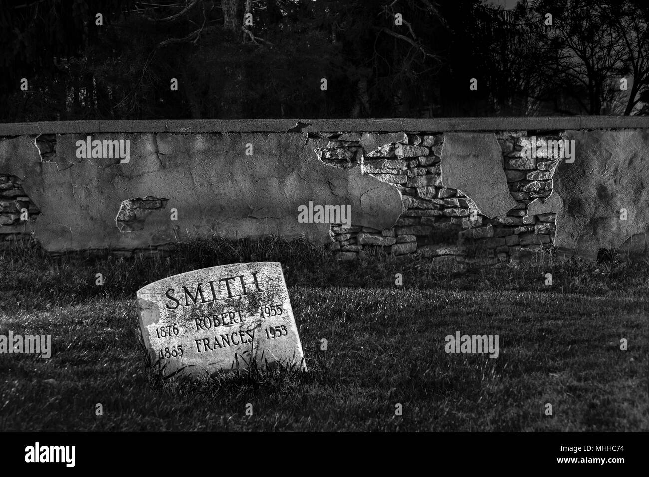Cemetery Graveyard At Night - Stock Image