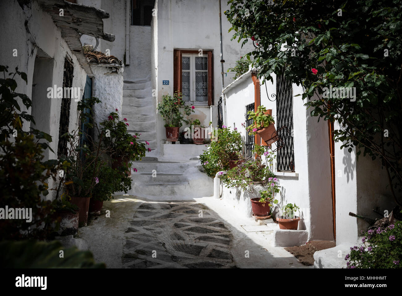Old Rustic Greek White Houses With Flowers In Plaka Athens Stock