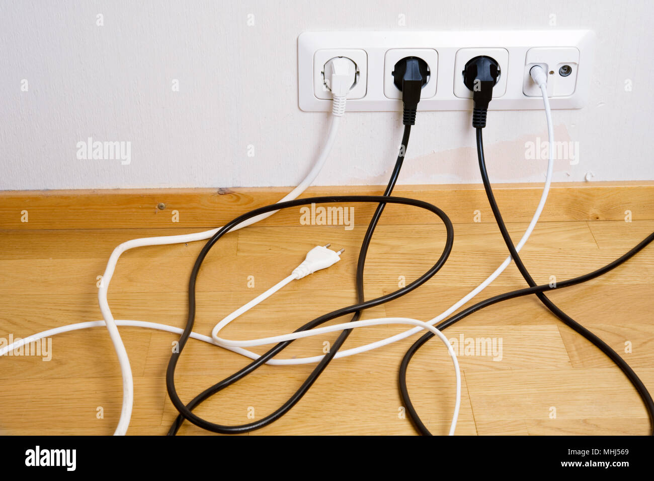 Electric And Aerial Outlet Sockets Plugs Cables Stock Wiring Cable