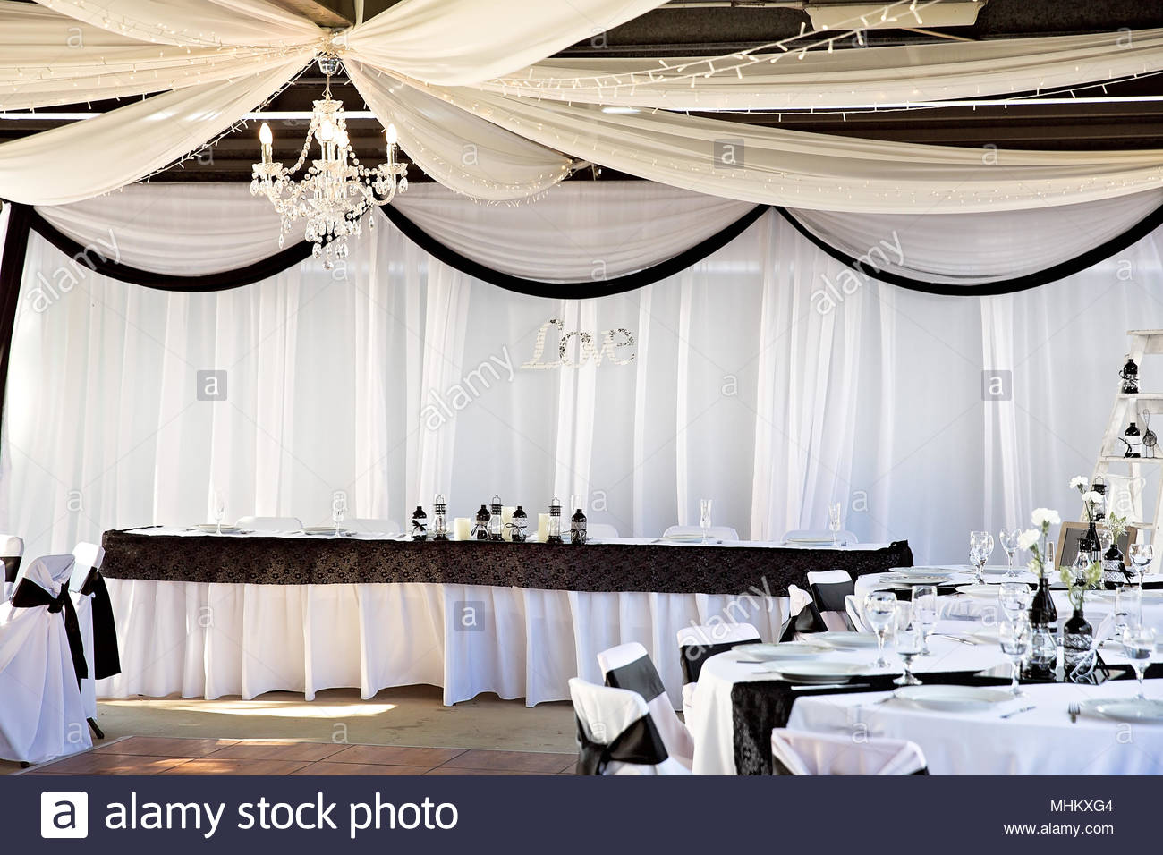 Black And White Colour Theme For Wedding Reception Venue Set Up