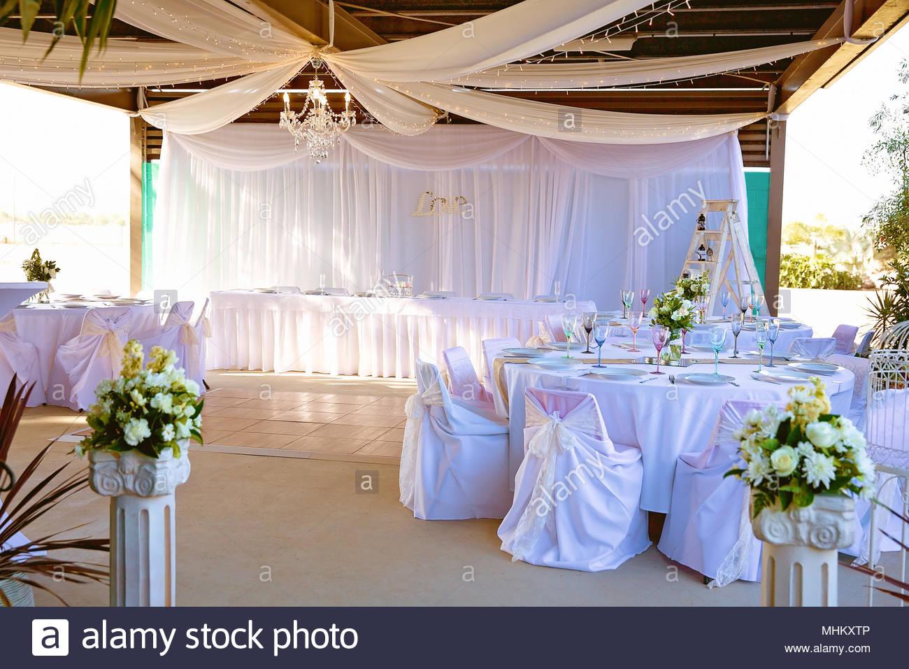 Outdoor Wedding Reception Venue Set Up Stock Photo 182990998 Alamy