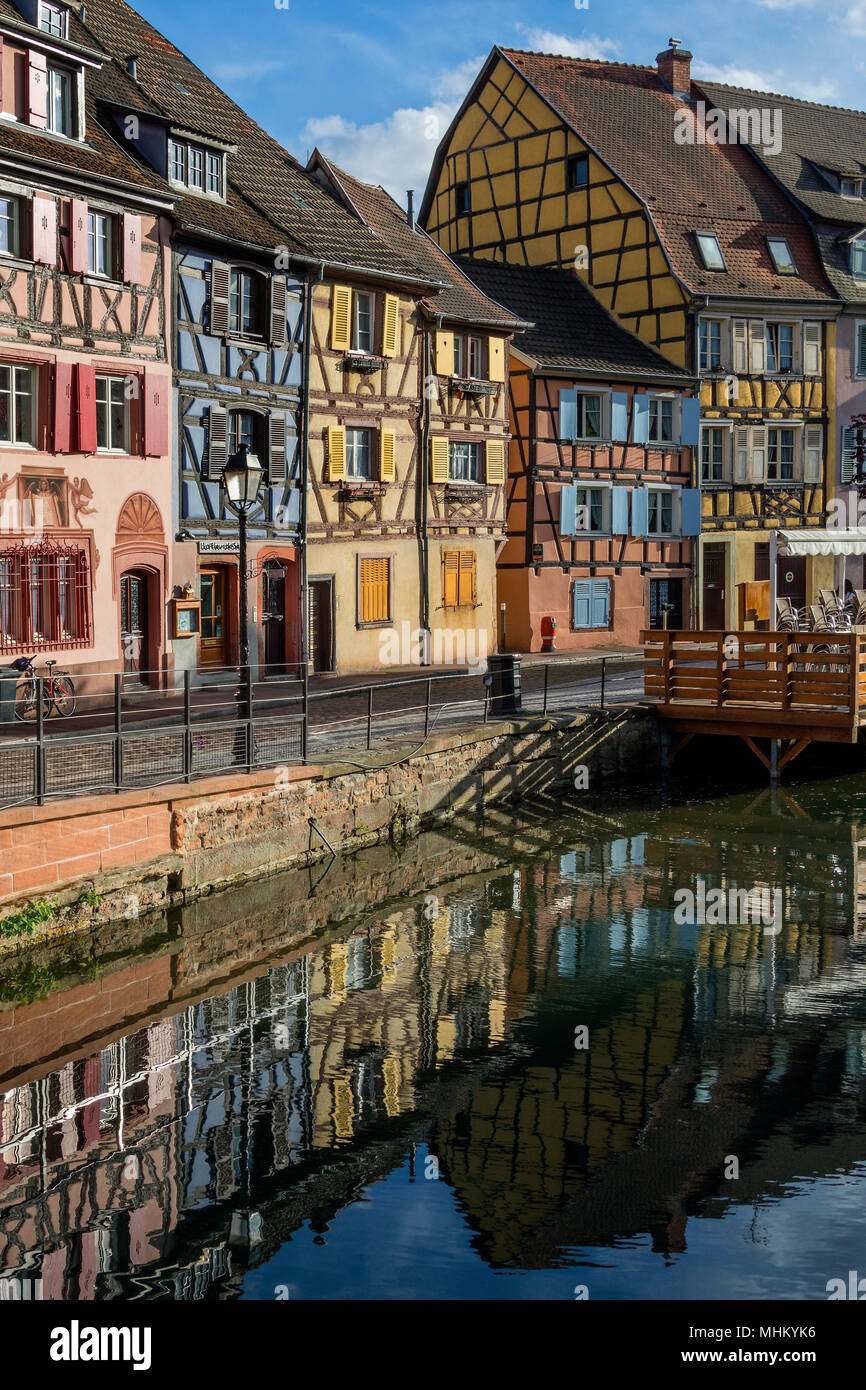 Old buildings in the historic Little Venice area of the old town of Colmar in the Alsace region of northeast France. - Stock Image