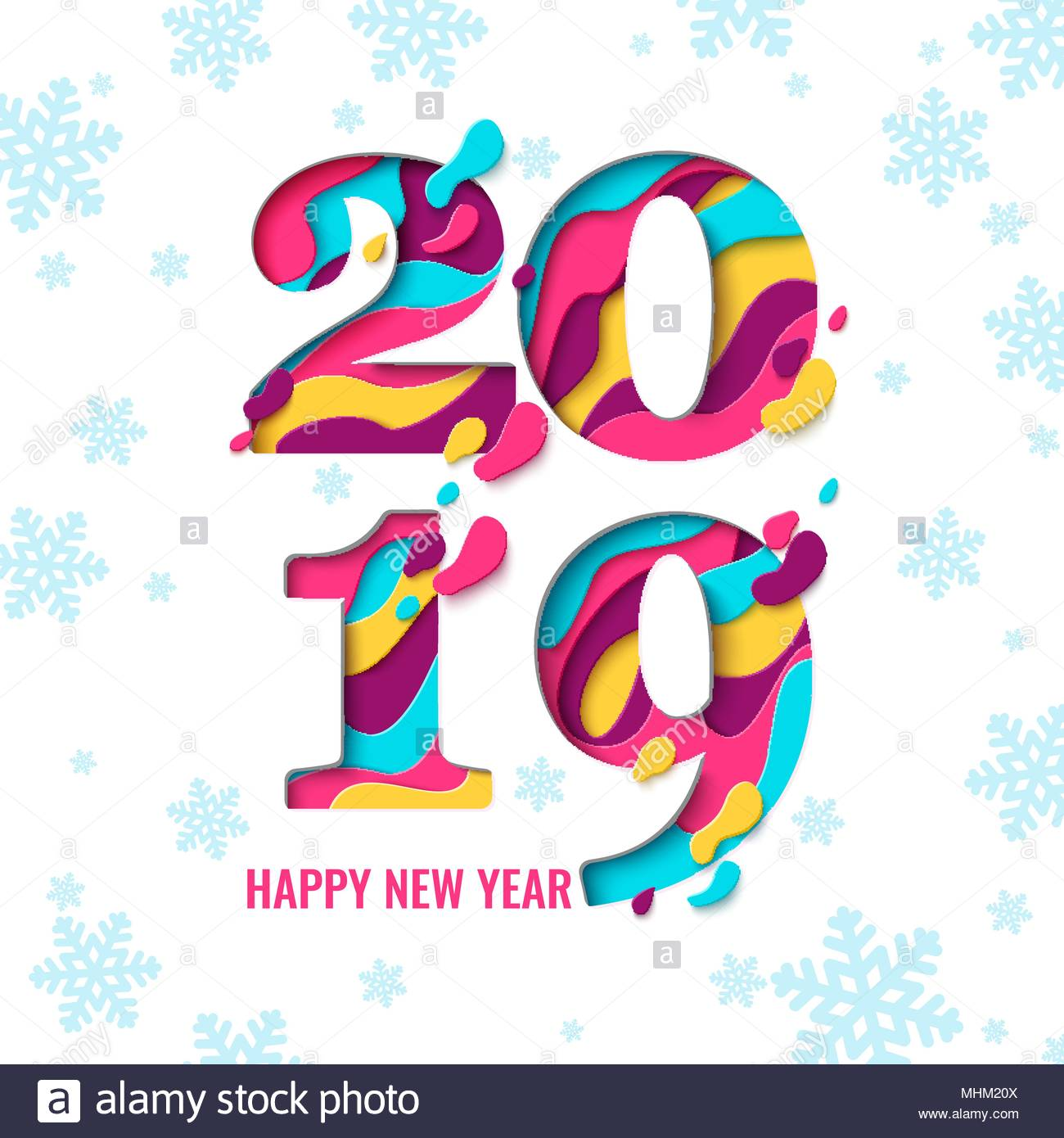2019 happy new year paper craft holiday background with snowflakes 2019 happy new year paper craft holiday background with snowflakes pattern vector winter holiday greeting card with paper cut numbers 2019 design for m4hsunfo