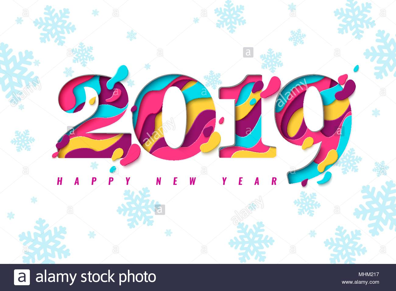 2019 Happy New Year paper craft holiday background with snowflakes ...