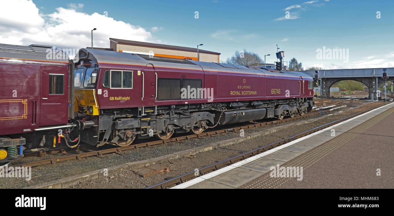 Train and Engine,Train,engine,Belmond,66746,in,Perth Railway station,Rail,station,GoTonySmith,railtrack,network,rail,network rail,city,scotland,scottish,Scots,train,railway,carriage,coupling,coupled,luxury,tourist,tourism,travel,UK,Royal Scotsman,luxurious train,luxurious,Bamford Spa,spa,cabin,cabins,landscape,highland,adventure