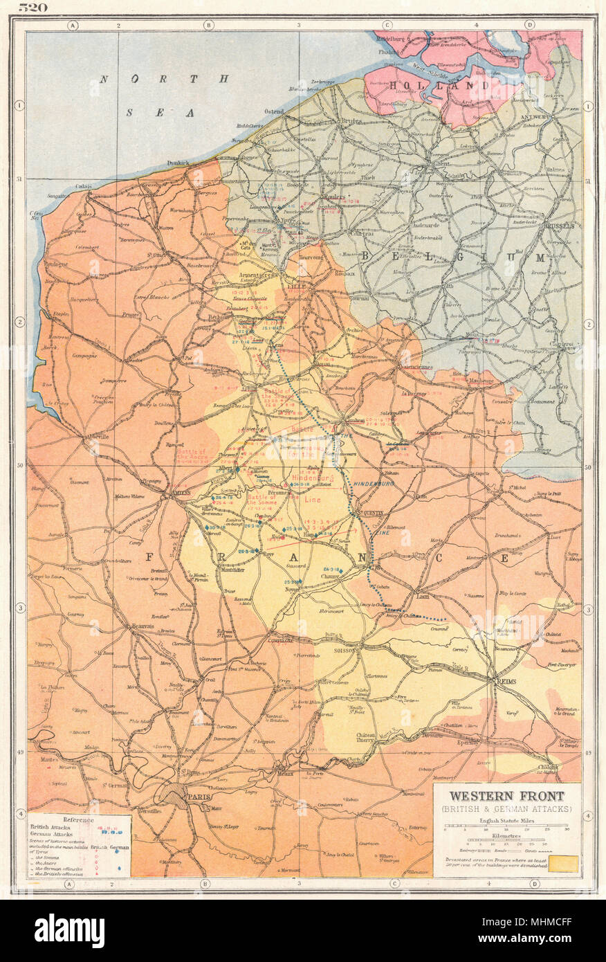 Map Of Western France.France Belgium Western Front First World War 1 Key Battles 1914 18