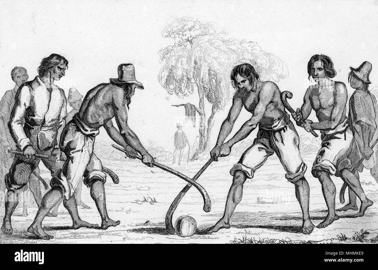 Chileans play an early form of hockey.       Date: circa 1835 - Stock Image