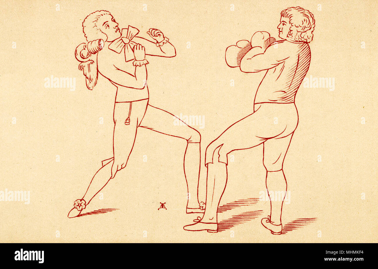 'Boxing made easy, or Humphreys giving a lesson'       Date: 1788 - Stock Image