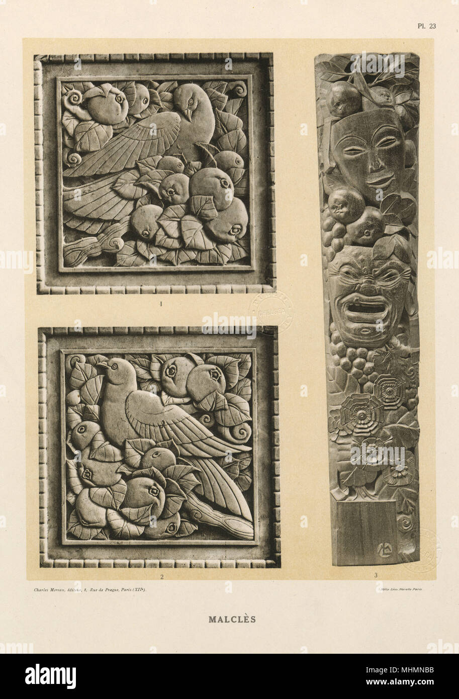 Antique french hand carved wooden panel door birds grapevine