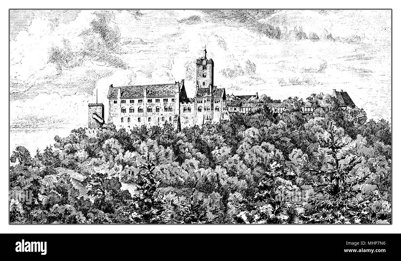 Germany, vintage engraving of Wartburg castle in Thuringia built in XI century - Stock Image