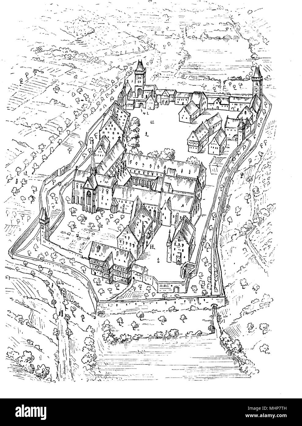 Maulbronn Monastery plan,  Roman Catholic Cistercian Abbey in Germany founded in year 1147 - Stock Image