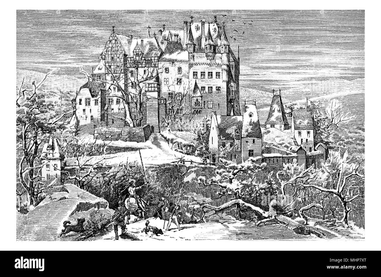 Germany - Winter view of gothic Eltz castle nestled above the Moselle river built in the XII century, vintage engraving - Stock Image