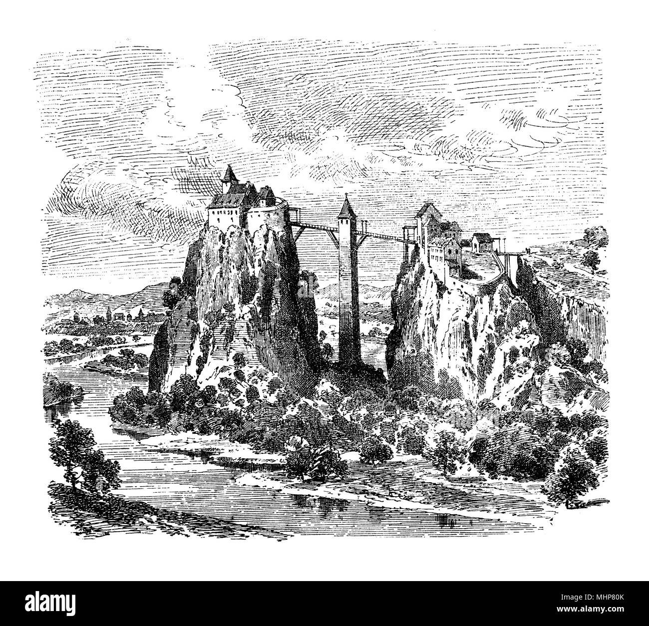 Germany, vintage engraving of Wildenstein castle on Danube river, built as fortress in XII-XIII century - Stock Image