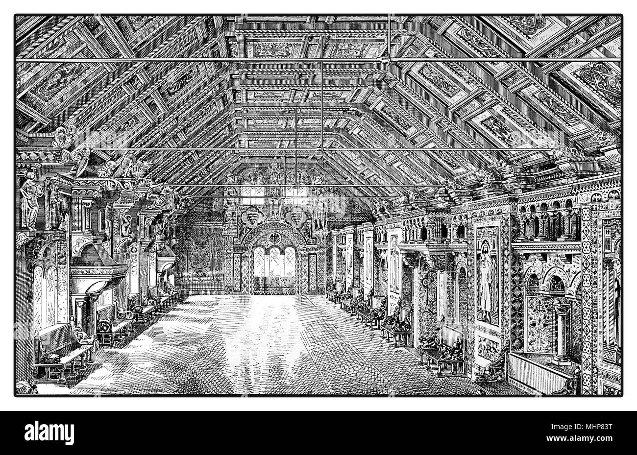 Vintage engraving of the fest und weapon hall of Wartburg castle in Thuringia - Germay  built in XI century - Stock Image