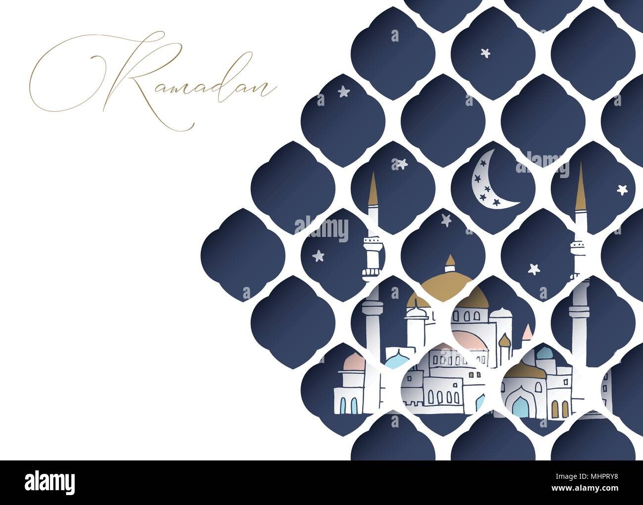 Greeting card invitation for muslim holiday ramadan kareem hand greeting card invitation for muslim holiday ramadan kareem hand drawn mosque with moon and stars view through white cut paper oriental arab pattern m4hsunfo