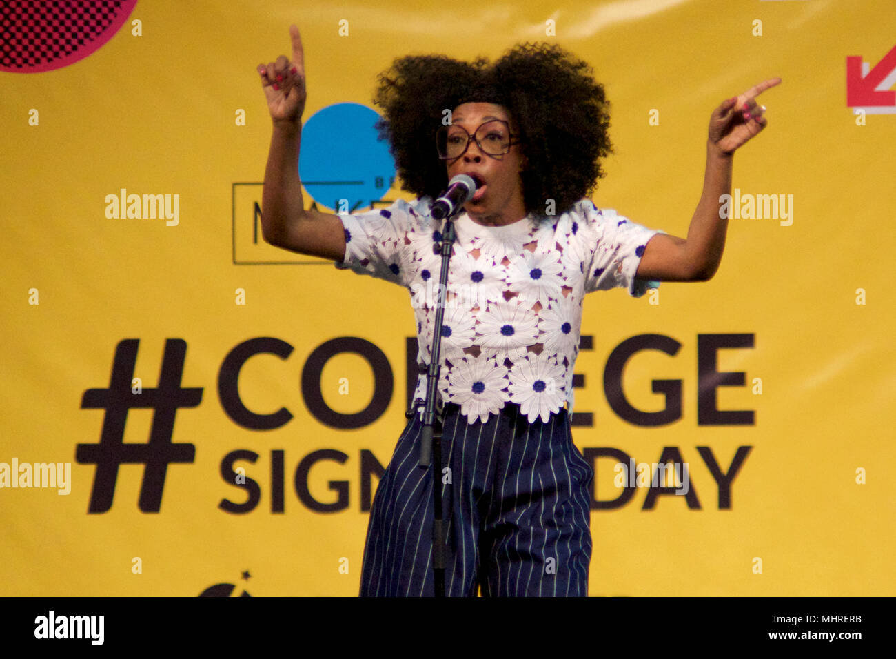 Philadelphia, USA. 2nd May 2018; Donn T on stage as Michelle Obama is joined by students, stars, performing artists and athletes for the fifth  annual College Signing Day, hosted by Reach Higher, at Temple University's Liacouras Center in North Philadelphia, on May 2, 2018. The Former First Lady is joined by 7.000 students and (on stage) stars, performing artists and athletes including Bradley Cooper, Rebel Wilson, Zendaya, Robert De Niro, Camila Cabello, Questlove, Anthony Mackie and Janelle Monae. Credit: Bastiaan Slabbers/Alamy Live News - Stock Image